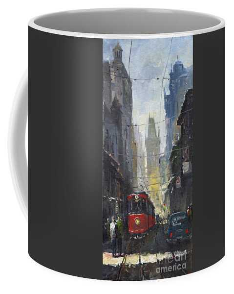 Oil On Canvas Paintings Coffee Mug featuring the painting Prague Old Tram 05 by Yuriy Shevchuk
