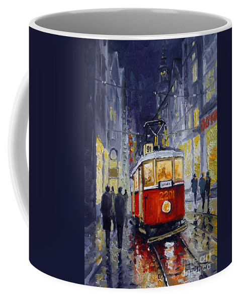 Oil Coffee Mug featuring the painting Prague Old Tram 06 by Yuriy Shevchuk