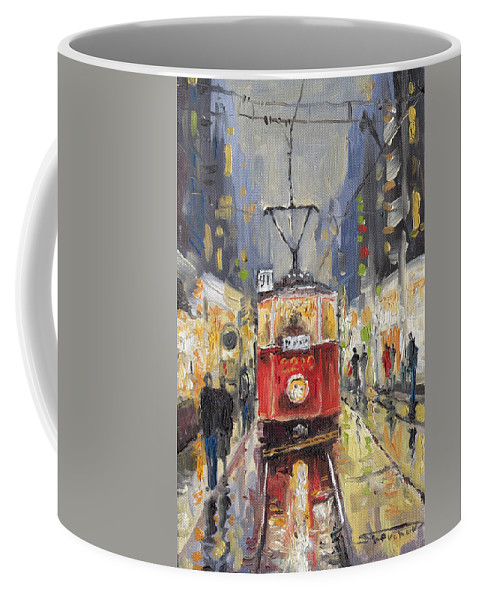 Oil Coffee Mug featuring the painting Prague Old Tram 08 by Yuriy Shevchuk