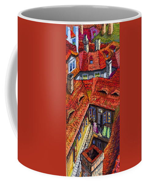 Pastel Coffee Mug featuring the painting Prague Roofs 01 by Yuriy Shevchuk