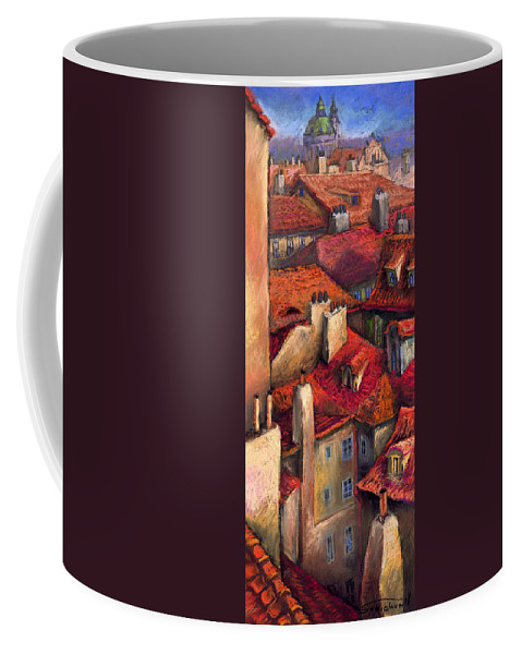 Prague Coffee Mug featuring the painting Prague Roofs by Yuriy Shevchuk