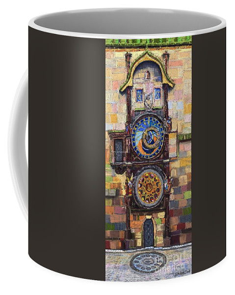 Cityscape Coffee Mug featuring the painting Prague The Horologue At Oldtownhall by Yuriy Shevchuk