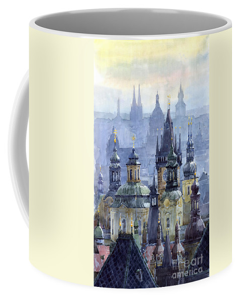 Architecture Coffee Mug featuring the painting Prague Towers by Yuriy Shevchuk