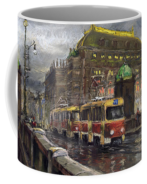 Prague Coffee Mug featuring the painting Prague Tram Legii Bridge National Theatre by Yuriy Shevchuk