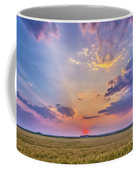 Alberta Coffee Mug featuring the photograph Prairie Sunset With Crepuscular Rays by Alan Dyer