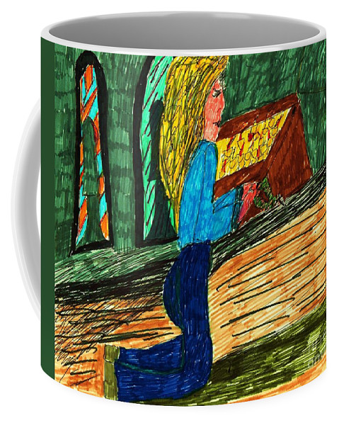 Lady Praying In Church Coffee Mug featuring the mixed media Prayer by Elinor Rakowski
