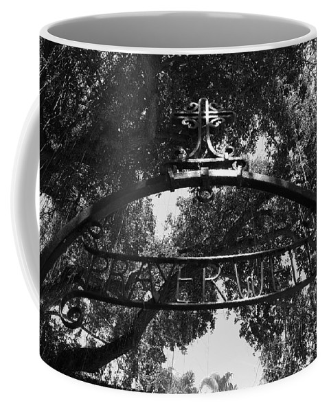 Black And White Coffee Mug featuring the photograph Prayer Well by Rob Hans