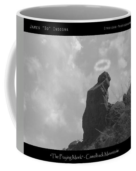 'praying Monk' Coffee Mug featuring the photograph Praying Monk - Arizona - Poster Print by James BO Insogna