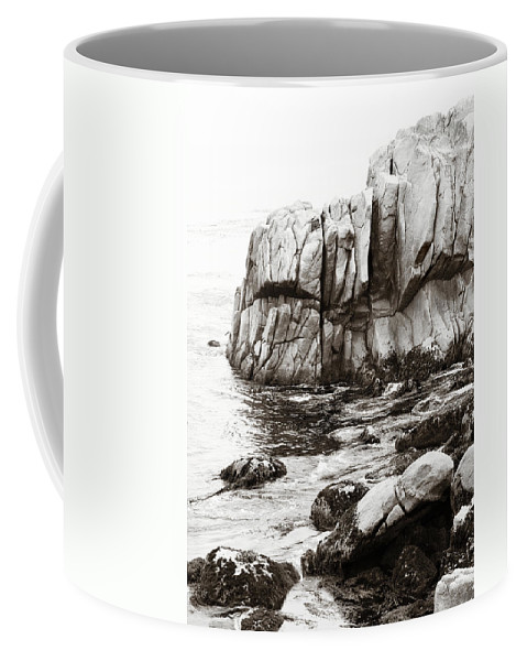 Pebble Beach Coffee Mug featuring the photograph Precarious At Pebble Beach by Marilyn Hunt