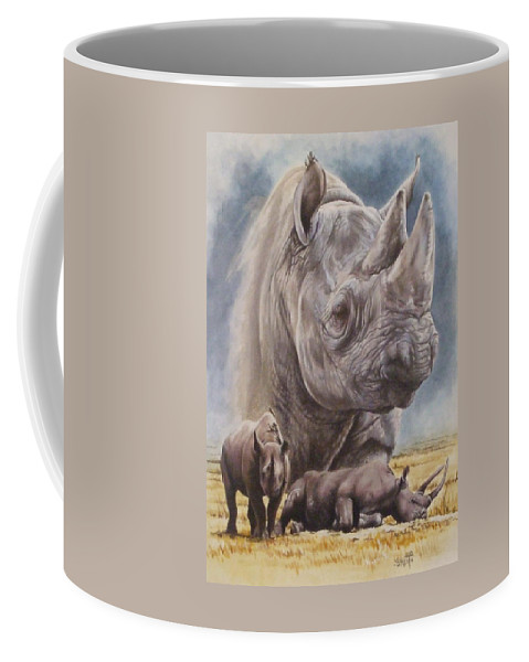 Wildlife Coffee Mug featuring the mixed media Precarious by Barbara Keith