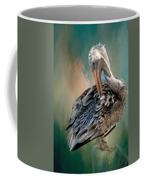 Nature Coffee Mug featuring the photograph Preening Session, California Brown Pelican by Zayne Diamond Photographic