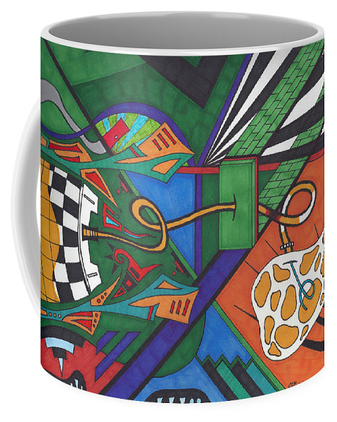Coffee Mug featuring the drawing Angry Paincreas by Johnny Huff