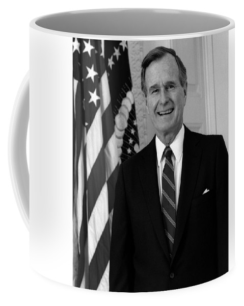 George Bush Coffee Mug featuring the photograph President George Bush Sr by War Is Hell Store