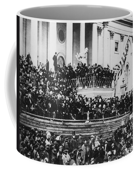 abraham Lincoln Coffee Mug featuring the photograph President Lincoln Gives His Second Inaugural Address - March 4 1865 by International Images