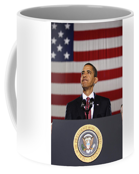 Obama Coffee Mug featuring the photograph President Obama by War Is Hell Store