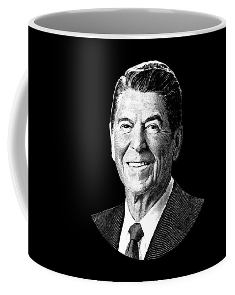 Ronald Reagan Coffee Mug featuring the digital art President Ronald Reagan Graphic - Black And White by War Is Hell Store