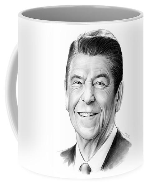 President Coffee Mug featuring the drawing President Ronald Reagan by Greg Joens