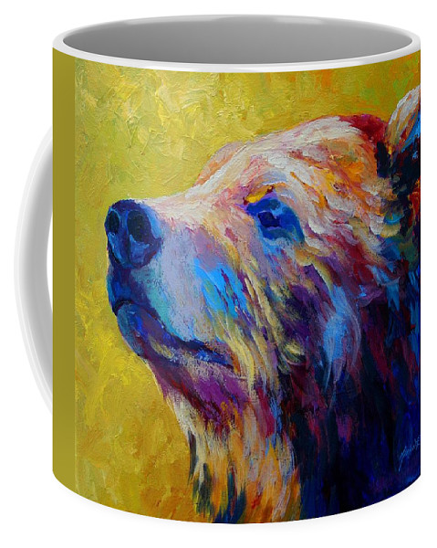Bear Coffee Mug featuring the painting Pretty Boy - Grizzly Bear by Marion Rose