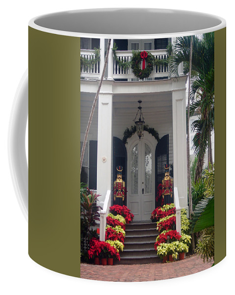 Houses In Key West Coffee Mug featuring the photograph Pretty Christmas Decoration In Key West by Susanne Van Hulst