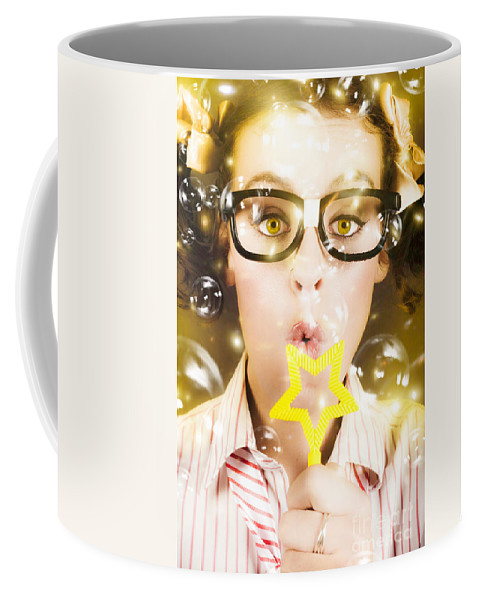 Activity Coffee Mug featuring the photograph Pretty Geek Girl At Birthday Party Celebration by Jorgo Photography - Wall Art Gallery