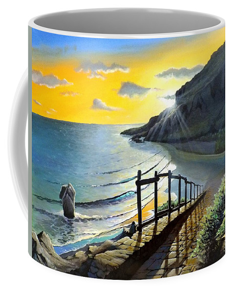 Crete Coffee Mug featuring the painting Preveli by James R Hahn