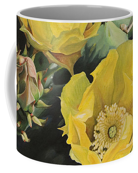 Cactus Coffee Mug featuring the painting Prickle Pear Cactus Flower Trio by Rebecca Zook