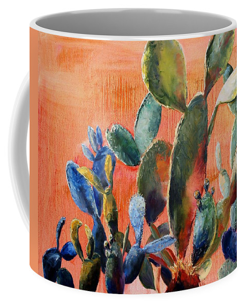 Cactus Coffee Mug featuring the painting Prickly Pear by Lynee Sapere