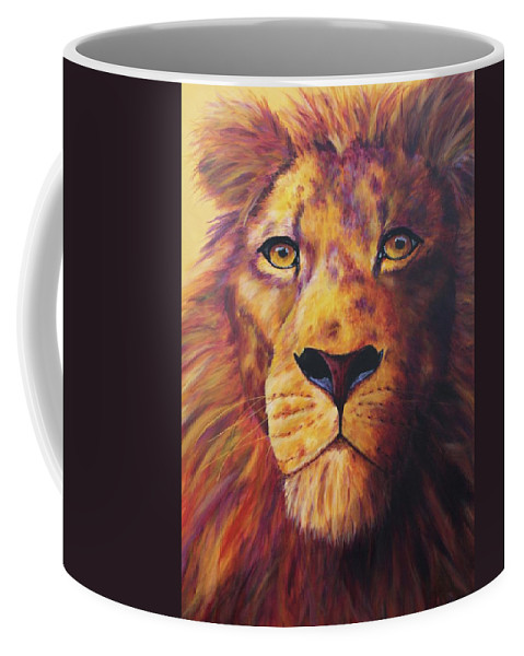 Lion Coffee Mug featuring the painting Pride by Wendi Curtis