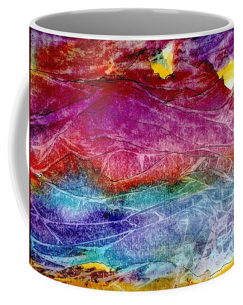 Coffee Mug featuring the painting Primal Dawn by Laura Johnson