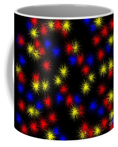 Clay Coffee Mug featuring the digital art Primary Bursts Under Glass by Clayton Bruster