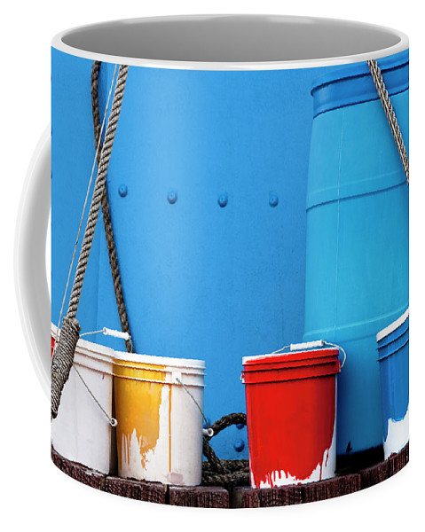 Paint Coffee Mug featuring the photograph Primary Colors - Paint Buckets On A Ship by Mitch Spence