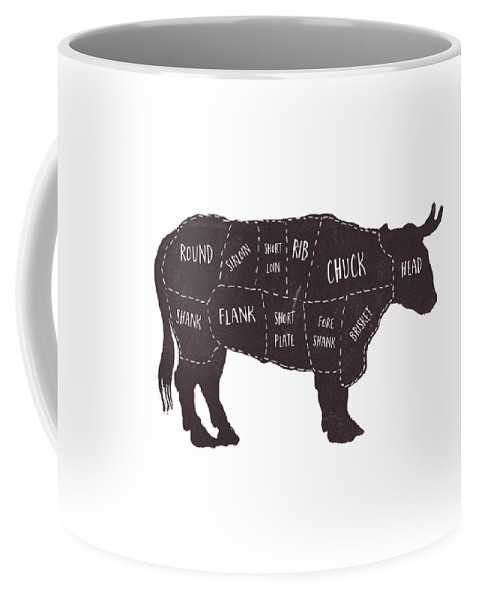 Beef Coffee Mug featuring the photograph Primitive Butcher Shop Beef Cuts Chart t-shirt by Edward Fielding