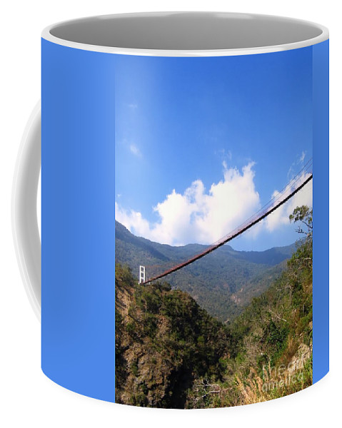 Suspension Coffee Mug featuring the photograph Primitive Suspension Bridge by Yali Shi
