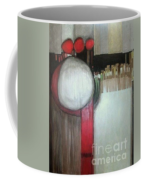 Abstract Coffee Mug featuring the painting Primordial by Marlene Burns