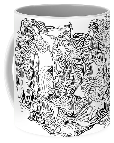Mazes Coffee Mug featuring the drawing Primordial by Steven Natanson