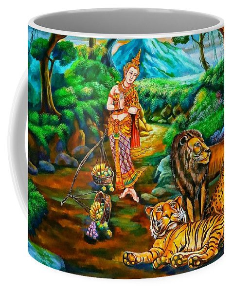 Forest Coffee Mug featuring the painting Prince In The Forest Of Life by Ian Gledhill