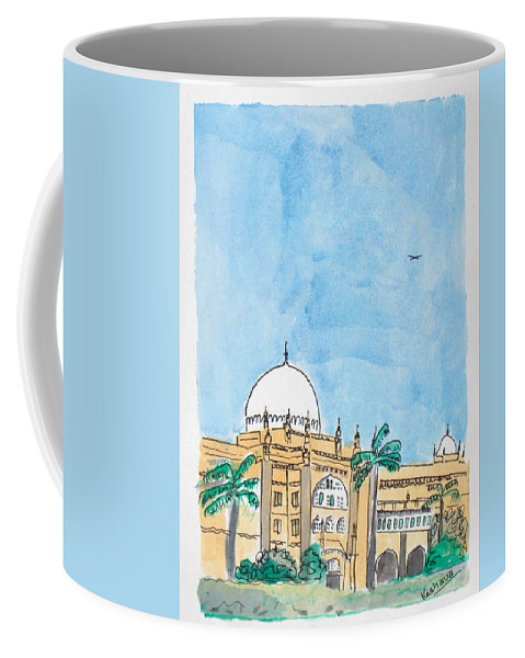 Watercolor Coffee Mug featuring the painting Prince Of Wales Museum Mumbai by Keshava Shukla