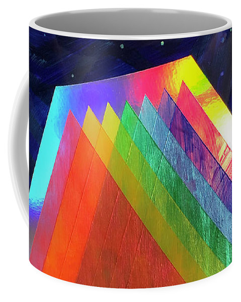 Mixed Media Coffee Mug featuring the mixed media Prismatic Dimensions by Christian Orozco