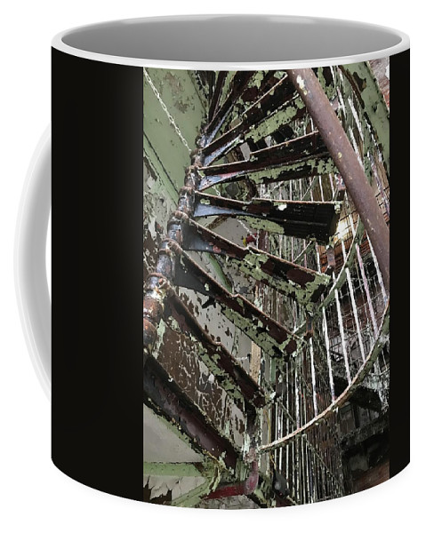 Staircase Coffee Mug featuring the photograph Prison Spiral Staircase by James Birce