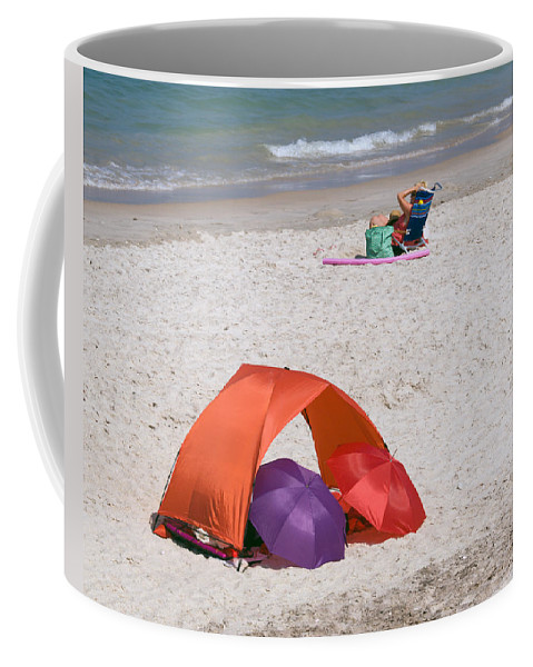 Florida; Vero; Beach; Shore; Coast; East; Atlantic; Ocean; Sand; Sandy; Umbrella; Umbrellas; Sun; Su Coffee Mug featuring the photograph Privacy For Two At The Beach by Allan Hughes
