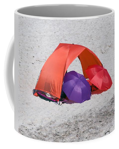 Florida; Vero; Beach; Shore; Coast; East; Atlantic; Ocean; Sand; Sandy; Umbrella; Umbrellas; Sun; Su Coffee Mug featuring the photograph Private Beach For Two by Allan Hughes