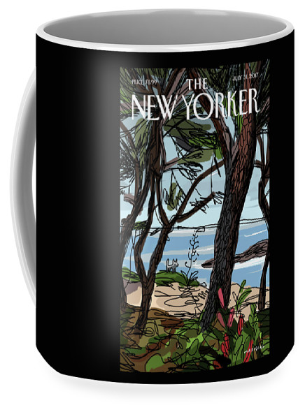 Private Beach Coffee Mug featuring the painting Private Beach by Javier Mariscal