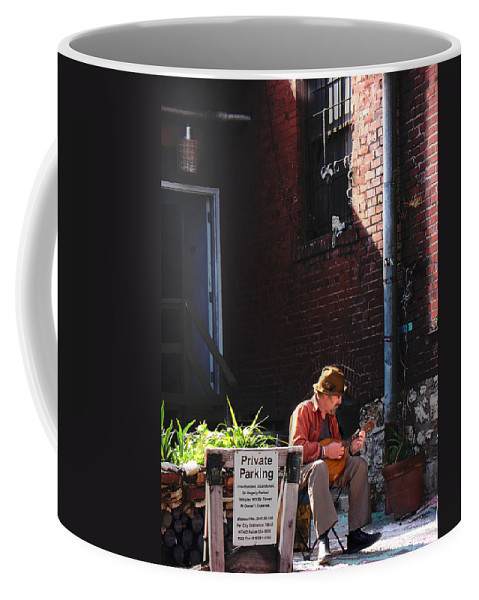 City Scape Coffee Mug featuring the photograph Private Parking by Steve Karol