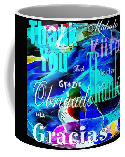 Profound Thought Celebrate Life Pink Coffee Mug featuring the painting Profound Thought Celebrate Life Pink by Catherine Lott
