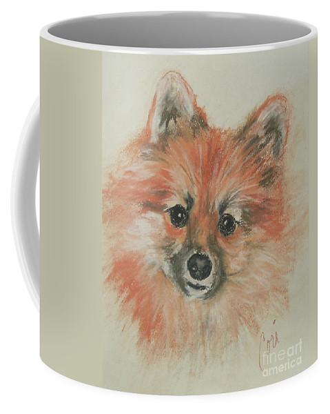 Pomeranian Coffee Mug featuring the drawing Promises Promises by Cori Solomon