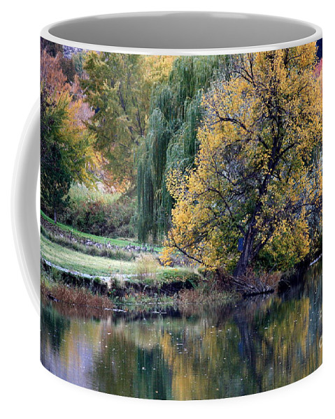 Fall Coffee Mug featuring the photograph Prosser - Autumn Reflection With Geese by Carol Groenen