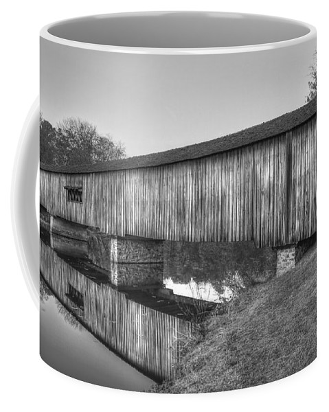 Reid Callaway Watson Mill Covered Bridge Coffee Mug featuring the photograph Protection That Works Historic Watson Mill Covered Bridge by Reid Callaway