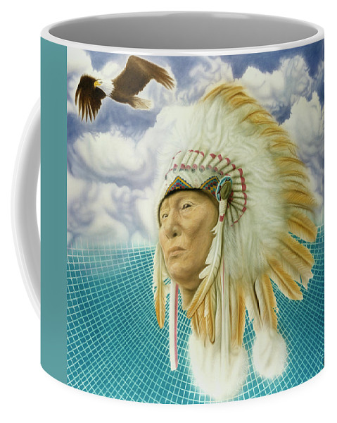 Native American Coffee Mug featuring the painting Proud As An Eagle by Rich Milo