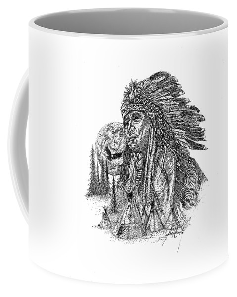 Indian Art Coffee Mug featuring the drawing Proud by Jennifer Campbell Brewer