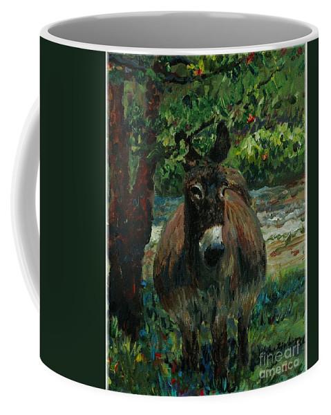 Donkey Coffee Mug featuring the painting Provence Donkey by Nadine Rippelmeyer